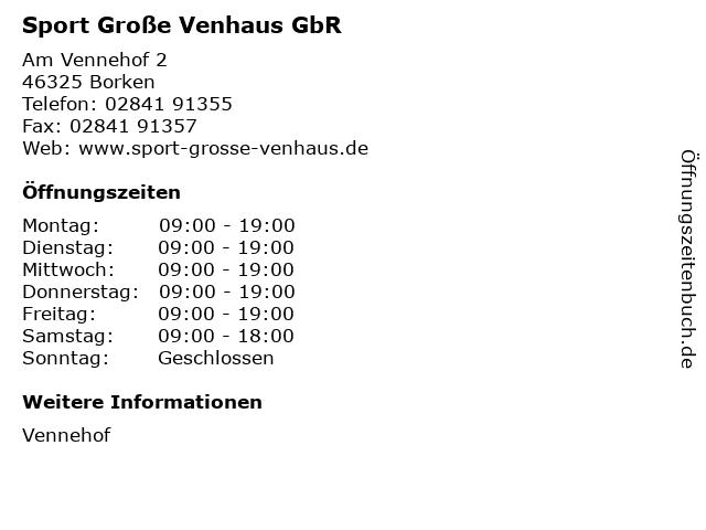 Sport Große Venhaus GbR in Borken: Adresse und Öffnungszeiten