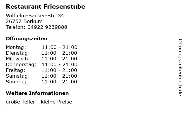 Restaurant Friesenstube in Borkum: Adresse und Öffnungszeiten