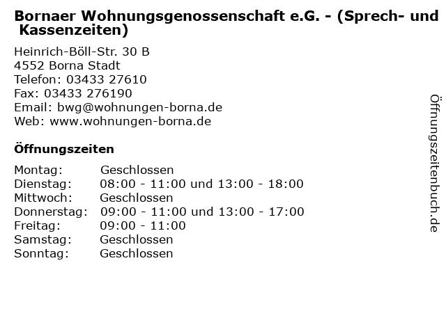 Bornaer Wohnungsgenossenschaft e.G. - (Sprech- und Kassenzeiten) in Borna Stadt: Adresse und Öffnungszeiten