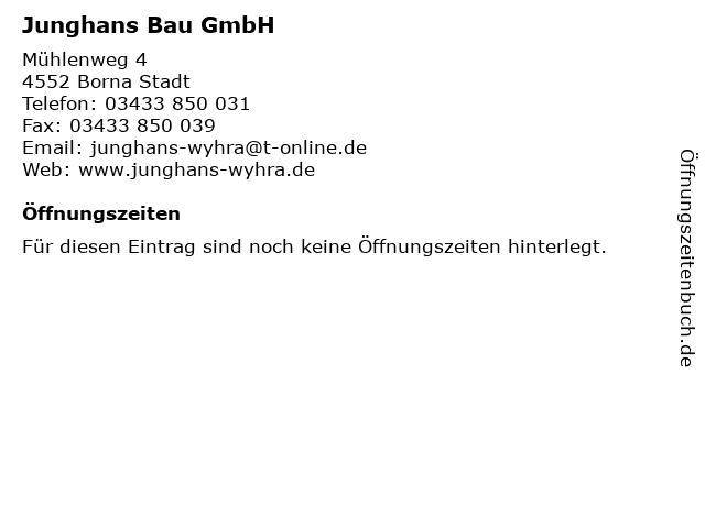 Junghans Bau GmbH in Borna Stadt: Adresse und Öffnungszeiten
