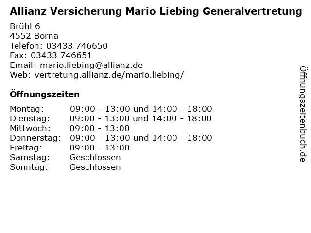 Allianz Mario Liebing in Borna: Adresse und Öffnungszeiten