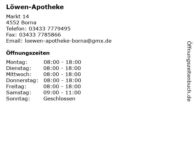 Löwen-Apotheke in Borna: Adresse und Öffnungszeiten