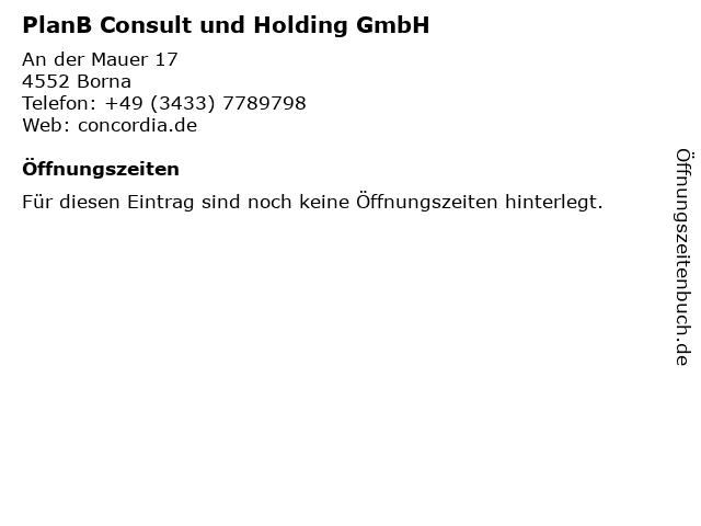 Thomas Schellig PlanB Consult und Holding GmbH in Borna: Adresse und Öffnungszeiten