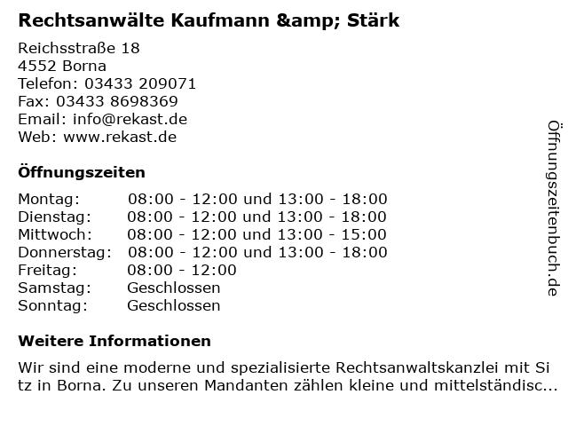 Rechtsanwälte Kaufmann & Stärk in Borna: Adresse und Öffnungszeiten