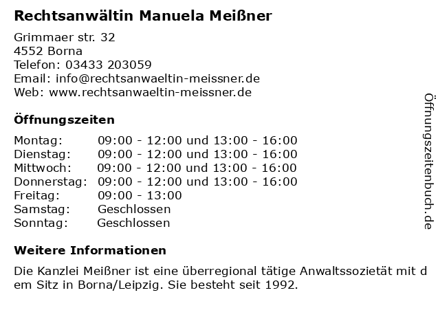 Rechtsanwältin Manuela Meißner in Borna: Adresse und Öffnungszeiten