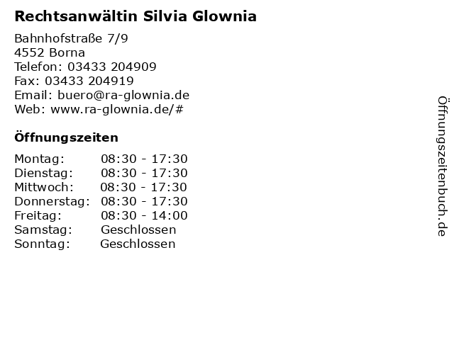 Rechtsanwältin Silvia Glownia in Borna: Adresse und Öffnungszeiten
