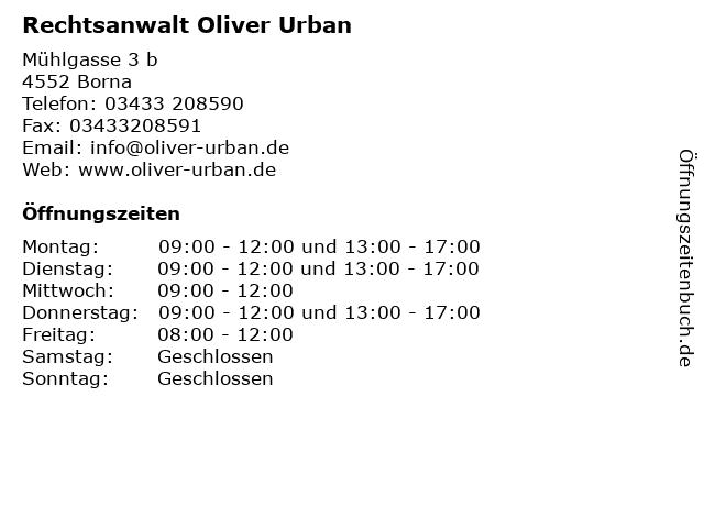 Rechtsanwalt Oliver Urban in Borna: Adresse und Öffnungszeiten