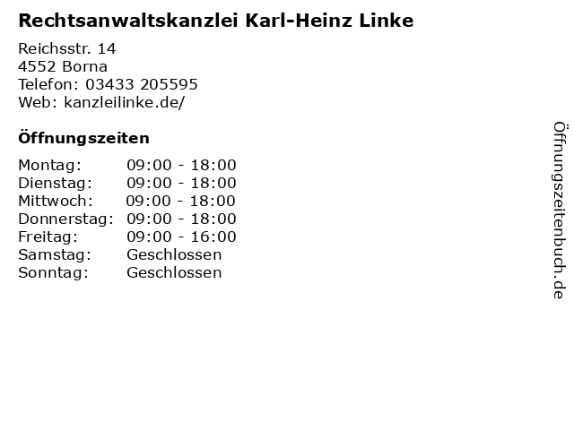 Rechtsanwaltskanzlei Karl-Heinz Linke in Borna: Adresse und Öffnungszeiten