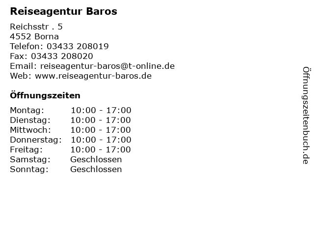Reiseagentur Baros in Borna: Adresse und Öffnungszeiten