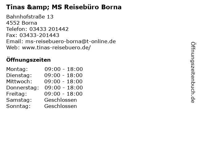 Tinas & MS Reisebüro Borna in Borna: Adresse und Öffnungszeiten
