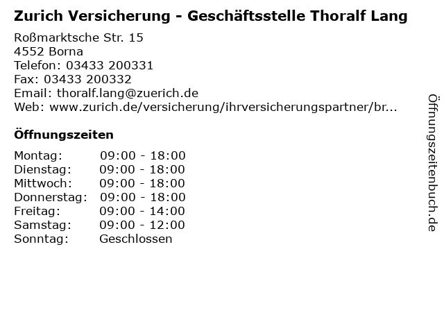 ᐅ Offnungszeiten Zurich Versicherung Geschaftsstelle Thoralf
