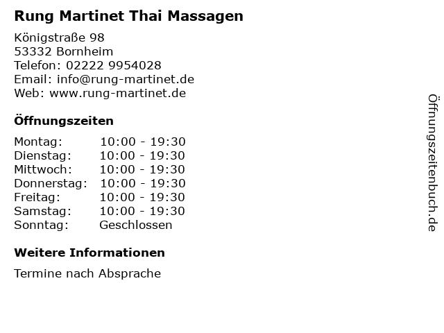 Rung Martinet Thai Massagen in Bornheim: Adresse und Öffnungszeiten
