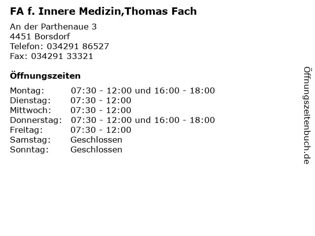 FA f. Innere Medizin,Thomas Fach in Borsdorf: Adresse und Öffnungszeiten
