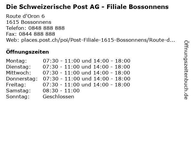 Die Schweizerische Post AG - Filiale Bossonnens in Bossonnens: Adresse und Öffnungszeiten