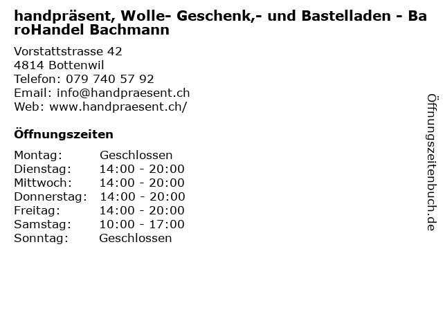 handpräsent, Wolle- Geschenk,- und Bastelladen - BaroHandel Bachmann in Bottenwil: Adresse und Öffnungszeiten