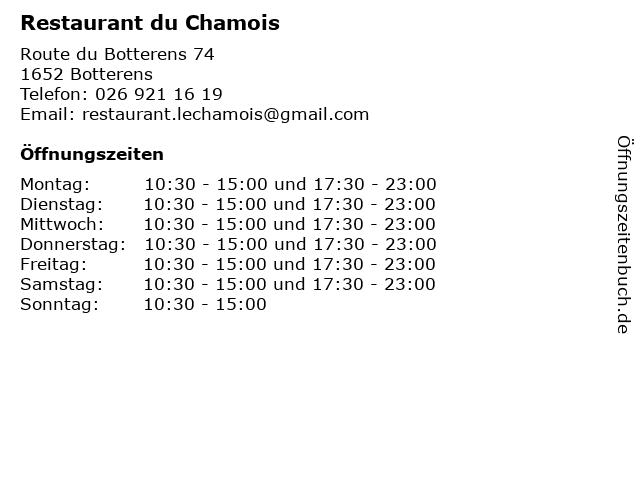 Restaurant du Chamois in Botterens: Adresse und Öffnungszeiten