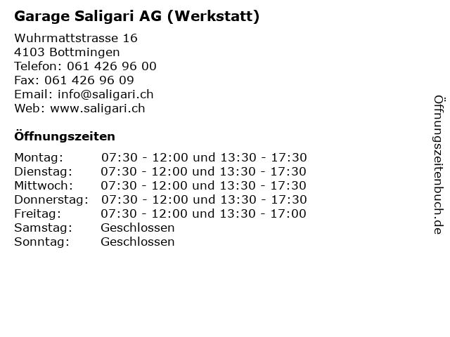 Garage Saligari AG (Werkstatt) in Bottmingen: Adresse und Öffnungszeiten