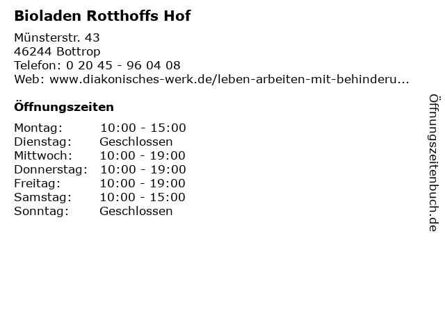 Bioladen Rotthoffs Hof in Bottrop: Adresse und Öffnungszeiten