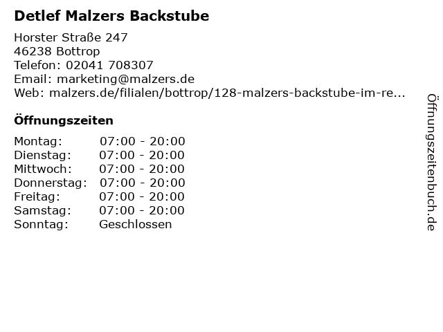 Detlef Malzers Backstube GmbH & Co. KG in Bottrop: Adresse und Öffnungszeiten