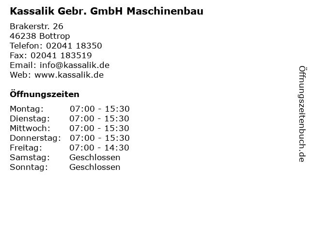 Kassalik Gebr. GmbH Maschinenbau in Bottrop: Adresse und Öffnungszeiten