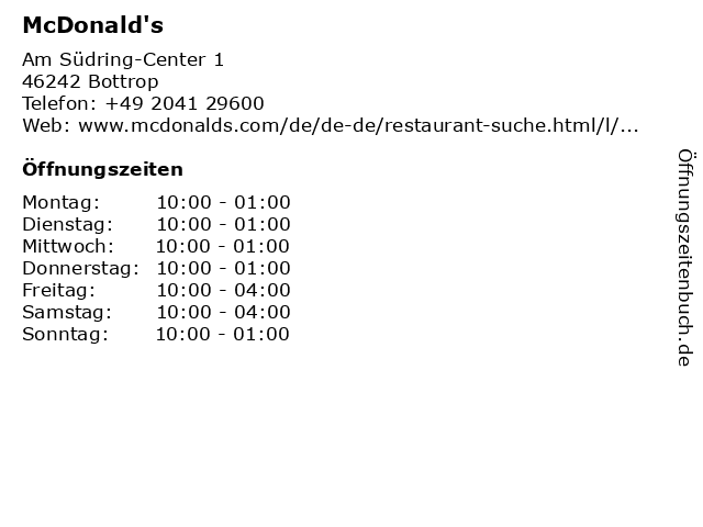 McDonalds Deutschland LLC in Bottrop: Adresse und Öffnungszeiten