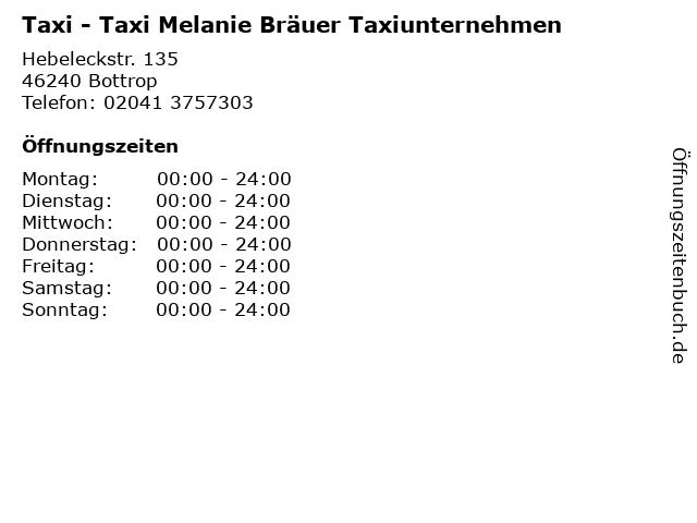 Taxi - Taxi Melanie Bräuer Taxiunternehmen in Bottrop: Adresse und Öffnungszeiten
