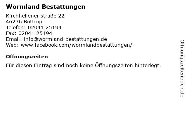 Wormland in Bottrop: Adresse und Öffnungszeiten