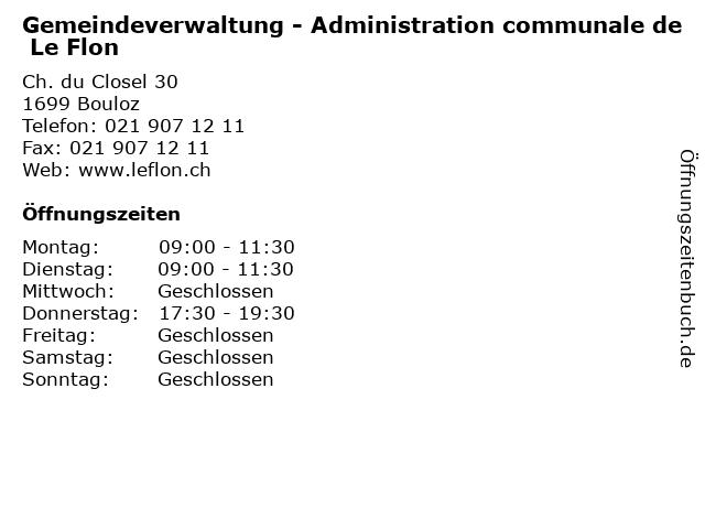 Gemeindeverwaltung - Administration communale de Le Flon in Bouloz: Adresse und Öffnungszeiten