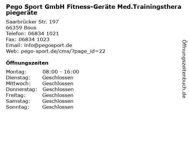 Pego Sport GmbH Fitness-Geräte Med.Trainingstherapiegeräte in Bous: Adresse und Öffnungszeiten