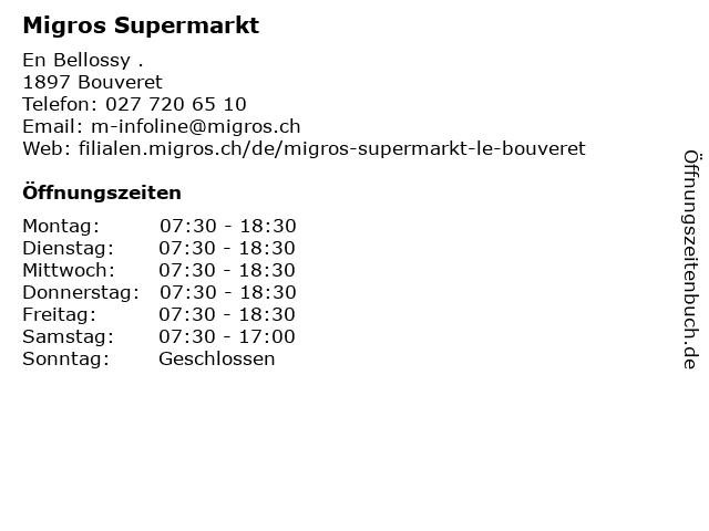 Migros Supermarkt in Bouveret: Adresse und Öffnungszeiten