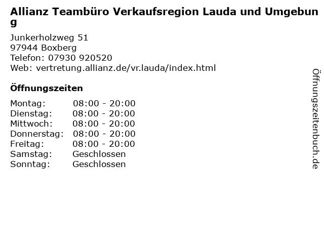 Allianz Teambüro Verkaufsregion Lauda und Umgebung in Boxberg: Adresse und Öffnungszeiten