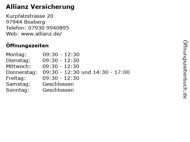 Allianz Versicherung in Boxberg: Adresse und Öffnungszeiten