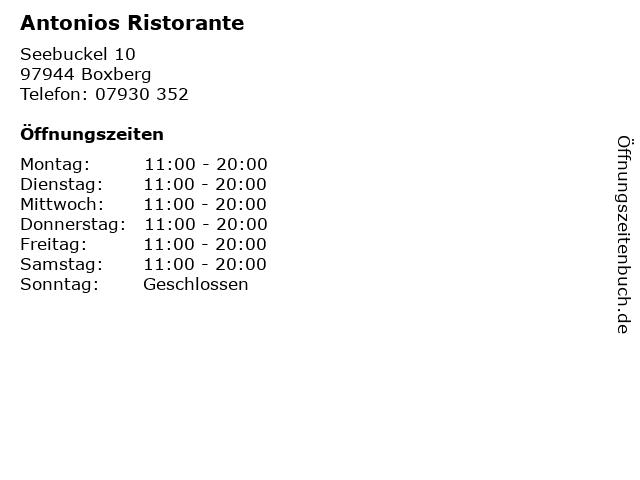 Antonios Ristorante in Boxberg: Adresse und Öffnungszeiten