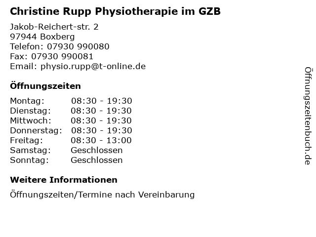 Christine Rupp Physiotherapie im GZB in Boxberg: Adresse und Öffnungszeiten