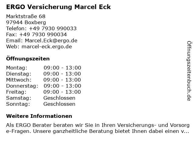 ERGO Versicherung Marcel Eck in Boxberg: Adresse und Öffnungszeiten