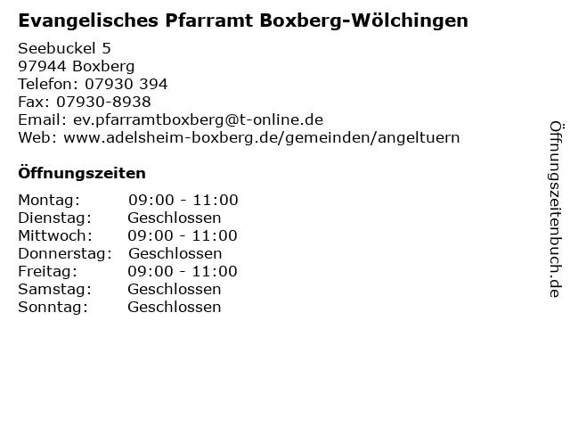 Evangelisches Pfarramt Boxberg-Wölchingen in Boxberg: Adresse und Öffnungszeiten