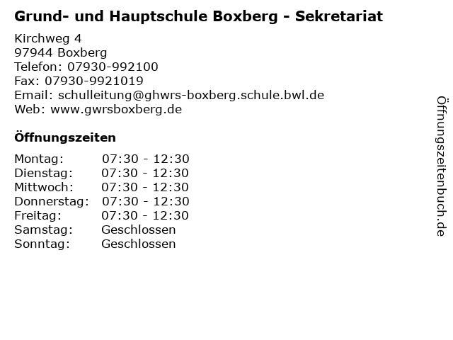 Grund- und Hauptschule Boxberg - Sekretariat in Boxberg: Adresse und Öffnungszeiten