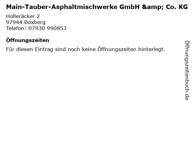 Main-Tauber-Asphaltmischwerke GmbH & Co. KG in Boxberg: Adresse und Öffnungszeiten