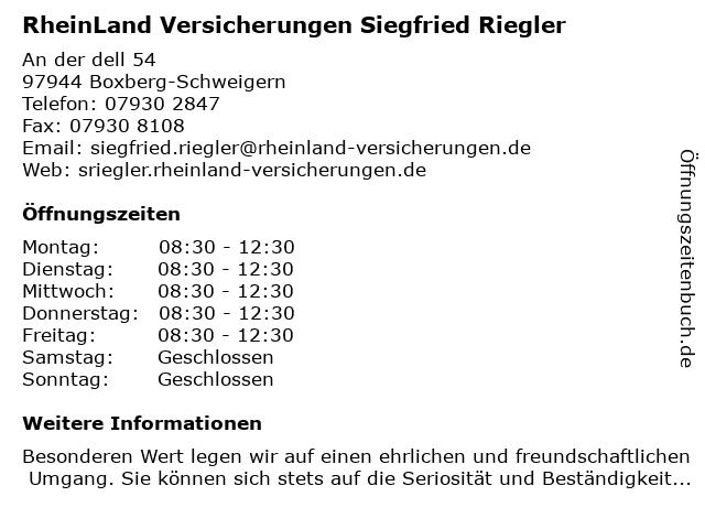 RheinLand Versicherungen Siegfried Riegler in Boxberg-Schweigern: Adresse und Öffnungszeiten