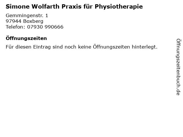 Simone Wolfarth Praxis für Physiotherapie in Boxberg: Adresse und Öffnungszeiten