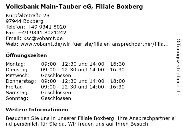 Volksbank Main-Tauber eG, Filiale Boxberg in Boxberg: Adresse und Öffnungszeiten