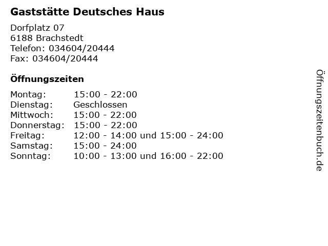 Gaststätte Deutsches Haus in Brachstedt: Adresse und Öffnungszeiten
