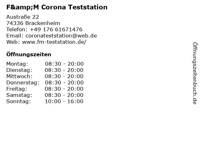F&M Corona Teststation in Brackenheim: Adresse und Öffnungszeiten