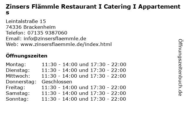 Zinsers Flämmle Restaurant I Catering I Appartements in Brackenheim: Adresse und Öffnungszeiten