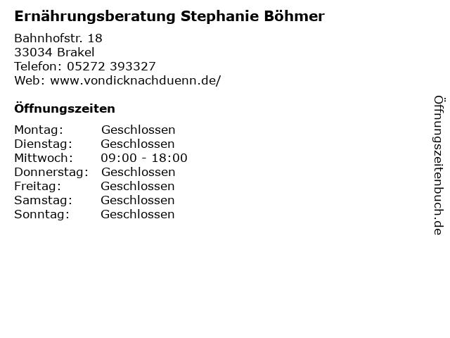 Ernährungsberatung Stephanie Böhmer in Brakel: Adresse und Öffnungszeiten
