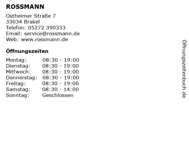 ROSSMANN in Brakel: Adresse und Öffnungszeiten