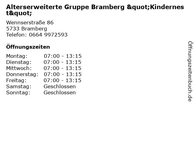 """Alterserweiterte Gruppe Bramberg """"Kindernest"""" in Bramberg: Adresse und Öffnungszeiten"""