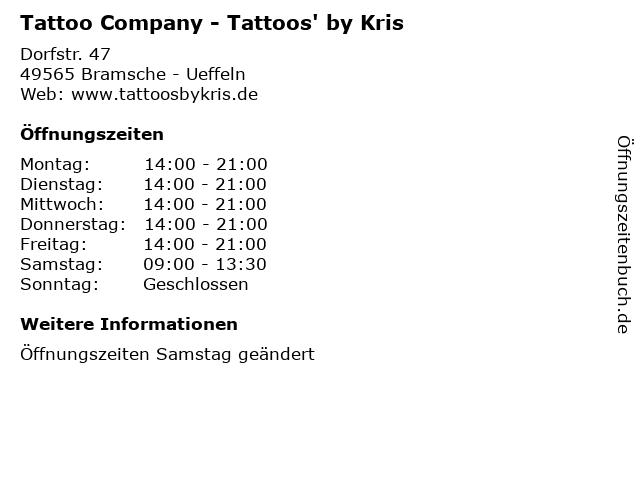 ᐅ öffnungszeiten Tattoo Company Tattoos By Kris