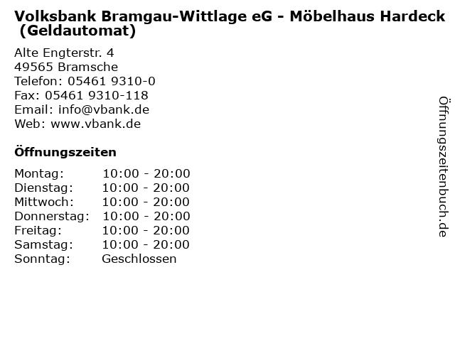 ᐅ öffnungszeiten Volksbank Bramgau Wittlage Eg Möbelhaus Hardeck