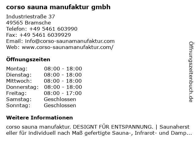 ᐅ Offnungszeiten Corso Sauna Manufaktur Gmbh Industriestrasse 37